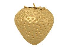 A golden strawberry isolated on white background 3D illustration.  stock illustration