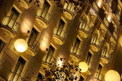 Golden street in Barcelona. Christmas lights in Barcelona city Royalty Free Stock Photo