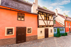 Golden street inside of Old Royal Palace in Prague, Czech Republic. Royalty Free Stock Photo