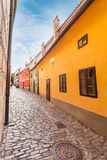 Golden street inside of Old Royal Palace in Prague, Czech Republic. Royalty Free Stock Photography