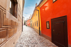 Golden street inside of Old Royal Palace in Prague, Czech Republic. Stock Photos