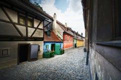 Golden street in Prague, Czech, Europe. Stock Photography