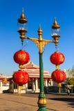 Golden Streetlight and Red Chinese Lantern at Wat Arun, Bangkok Stock Image
