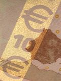 Golden stripe. Protection on a 10 euro bill. Detail stock photography