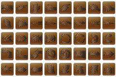 Golden stripe web buttons arrows Royalty Free Stock Photography