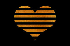 Golden striped heart. Royalty Free Stock Photo