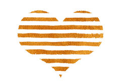 Golden striped heart. Golden striped heart on white background. Gold paint Stock Photos
