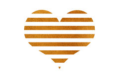 Golden striped heart. Stock Images