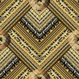 Golden striped tiled greek key meanders seamless pattern. Vector. Geometric gold background. Gold wallpapers design. Gold ethnic ornaments. 3d ornamental Stock Photography