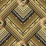 Golden striped tiled greek key meanders seamless pattern. Vector. Geometric gold background. Gold wallpapers design. Gold ethnic ornaments. 3d ornamental stock illustration
