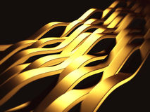 Golden striped waves abstract glossy background Stock Image