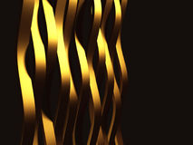 Golden striped waves abstract glossy background. 3d render illustration Stock Images