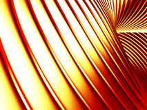 Golden striped waves abstract glossy background. 3d render illustration Stock Image