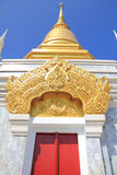 Golden stupa. And ancient red door Stock Image