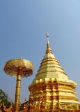 Golden stupa in a Buddhist Temple Wat Phrathat Doi Suthep Royalty Free Stock Images