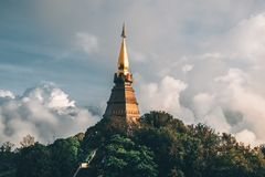 Golden stupa of Doi Inthanon. Buddhist temple in Thailand royalty free stock photo
