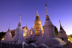 Golden stupa in dusk at acient temple, Northern thailand royalty free stock photo