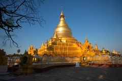 Golden stupa at Kuthodaw Pagoda, Mandalay, Myanmar stock photos
