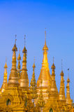 Golden stupa of Shwedagon Pagoda at twilight, Yangon, Myanmar Stock Photo
