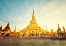 The golden stupa of the Shwedagon Pagoda Yangon Rangoon, Landm. Ark of Myanmar or Burma stock photography