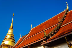 Golden stupa and Wat Nan,Thailand Stock Photo