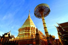 Golden stupa at Wat Phra That Doi Suthep, tourist attraction and popular historical temple of  Chiang Mai, Thailand. Royalty Free Stock Images