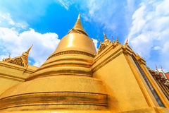 Golden stupa at Wat Phra Kaew is located. Bangkok's most famous landmark was built 1782. Within the palace complex are several impressive buildings including stock images