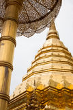 Golden Stupa in Wat Phrathat temple on Doi Suthep, Chiang Mai Royalty Free Stock Image