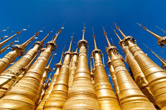 Golden stupas of Shwe Indein Pagoda. Myanmar (Burma) Stock Image