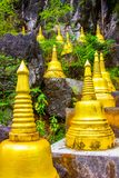 Golden stupas in Tiger Cave Temple, Wat Tham Suea, Krabi, Thailand. Golden stupas in Tiger Cave Temple, Wat Tham Suea, Krabi in Thailand stock photos