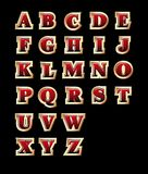 Golden style alphabet. Vectorial golden style alphabet, isolated on black background. File contains gradients Royalty Free Stock Photo