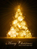 Golden stylised Christmas tree Royalty Free Stock Photos