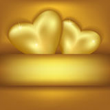 Golden stylish background with hearts Stock Photos