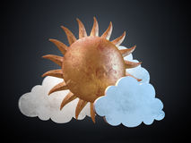 Golden stylized sun with clouds Royalty Free Stock Image