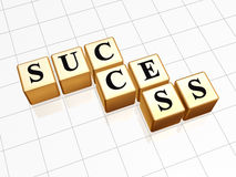 Golden success. 3d golden boxes with text - success with reflection Royalty Free Stock Photos