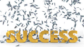 Golden `success` text under dollar banknote rain. 3d illustration. Isolated on white Royalty Free Stock Photography