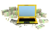 Golden succsess computer with money around Stock Photos