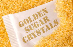 Golden sugar crystals Royalty Free Stock Photos
