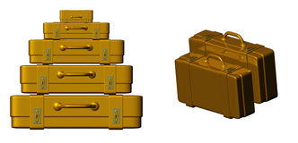 Golden suitcase Stock Photo