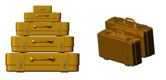 Golden suitcase Stock Photo
