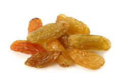 Golden sultanas. Isolated on white background Stock Images