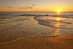 Golden Summer Beach sunset. Summer on a beautiful Sunset Beach Stock Photography