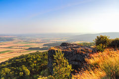Golden Summer Morning. Countryside View in the morning from the Staffelberg in Oberfranken in northern Bavaria, Germany Royalty Free Stock Photography
