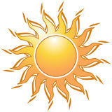 Golden sun. A  illustration of the sun with white background Stock Image