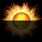 Golden sun. On the black background,used mesh Royalty Free Stock Photos