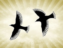 Golden Sun Birds. Two bird silhouettes in front of golden sunny background royalty free illustration