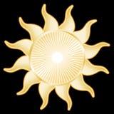 Golden Sun, Black Background Stock Image