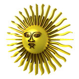 Golden sun, clipping path included. Golden sun, with face, clipping path included, 3d illustration, isolated on white Royalty Free Stock Photo