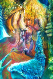 Golden sun god, blue water goddess, fairy child and a phoenix bird, fantasy imagination detailed colorful painting. Royalty Free Stock Image