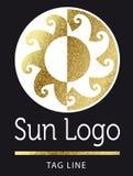 Golden sun logo. Golden bright sun logo on black vector illustration